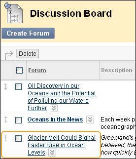 Blackboard Discussion Screenshot